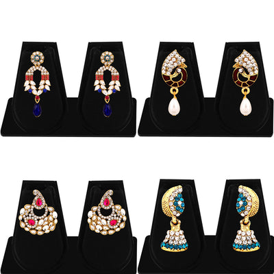 Sukkhi Marquise Gold Plated AD Combo Earring For Women