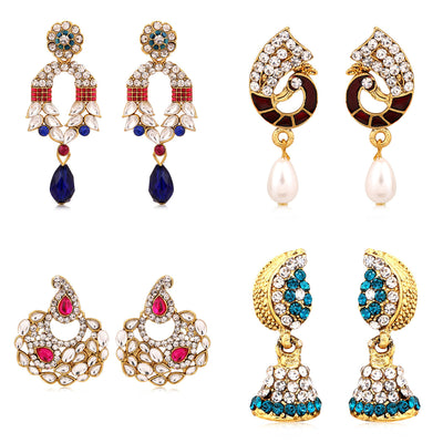 Sukkhi Marquise Gold Plated AD Combo Earring For Women-1