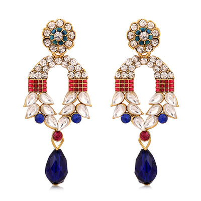 Sukkhi Marquise Gold Plated AD Combo Earring For Women-3