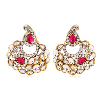 Sukkhi Marquise Gold Plated AD Combo Earring For Women-5