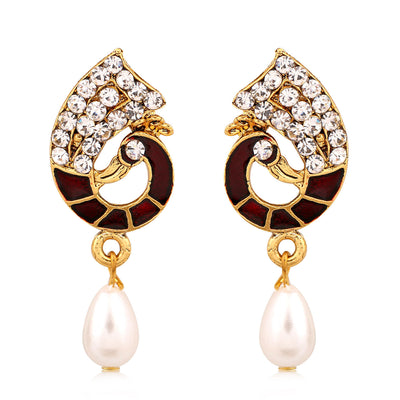 Sukkhi Marquise Gold Plated AD Combo Earring For Women-7