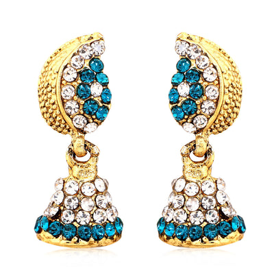 Sukkhi Marquise Gold Plated AD Combo Earring For Women-9