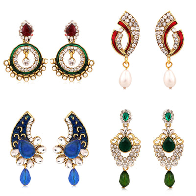 Sukkhi Exquisite Gold Plated AD Combo Earring For Women-1