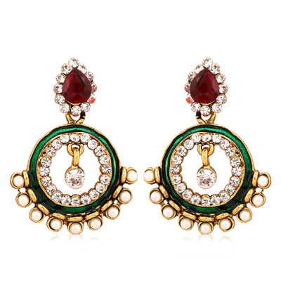 Sukkhi Exquisite Gold Plated AD Combo Earring For Women-7
