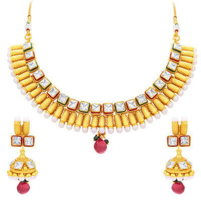 Sukkhi Intricately Gold Plated American Diamond Necklace Set For Women