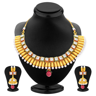 Sukkhi Intricately Gold Plated American Diamond Necklace Set For Women-1