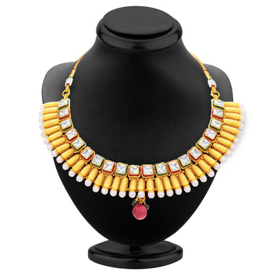 Sukkhi Intricately Gold Plated American Diamond Necklace Set For Women-3
