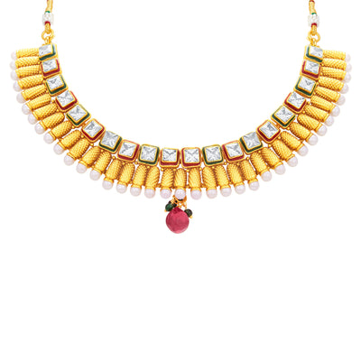 Sukkhi Intricately Gold Plated American Diamond Necklace Set For Women-2