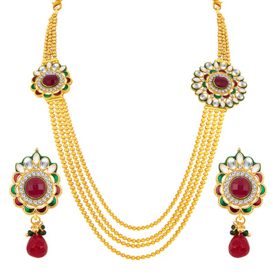 Sukkhi Eye-Catchy Four String Gold Plated AD Necklace Set For Women