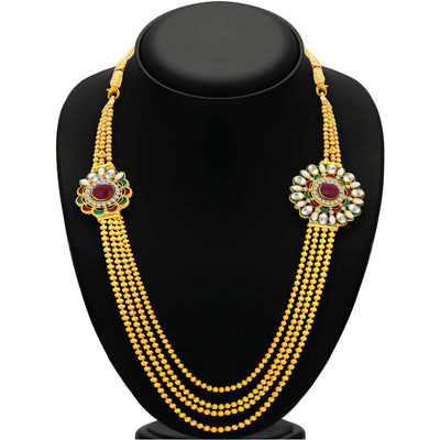 Sukkhi Eye-Catchy Four String Gold Plated AD Necklace Set For Women-3