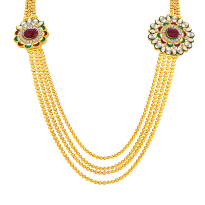 Sukkhi Eye-Catchy Four String Gold Plated AD Necklace Set For Women-2