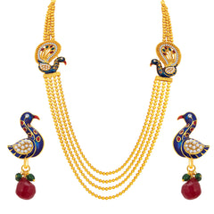Sukkhi Enchanting Four String Peacock Gold Plated Necklace Set For Women