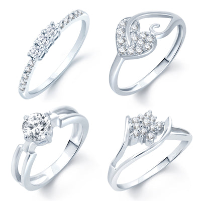 Sukkhi Incredible Rhodium Plated Set Of 4 CZ Ring Combo For Women