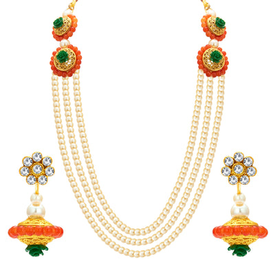 Sukkhi Resplendent Three String Gold Plated Necklace Set For Women