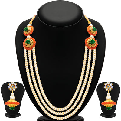 Sukkhi Resplendent Three String Gold Plated Necklace Set For Women-1
