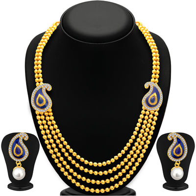 Sukkhi Delightful Four String Gold Plated Necklace Set For Women-1