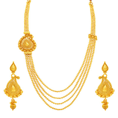 Sukkhi Stunning Four String Gold Plated Necklace Set For Women