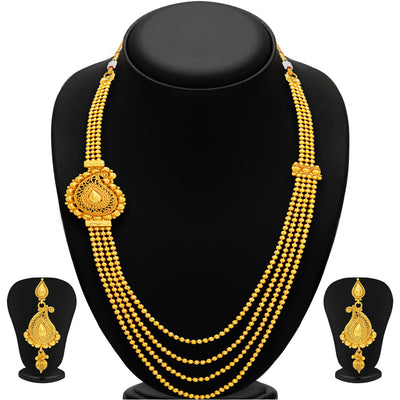 Sukkhi Stunning Four String Gold Plated Necklace Set For Women-1