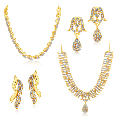 Sukkhi Ethnic Gold Plated Set Of 2 AD Necklace Set Combo For Women-1