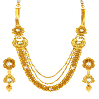 Sukkhi Glimmery Three String Jalebi Gold Plated Kundan Necklace Set For Women