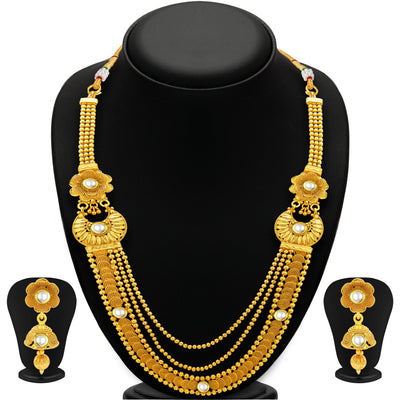 Sukkhi Glimmery Three String Jalebi Gold Plated Kundan Necklace Set For Women-1