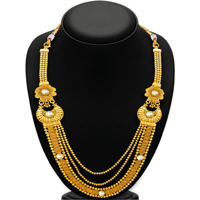 Sukkhi Glimmery Three String Jalebi Gold Plated Kundan Necklace Set For Women-3