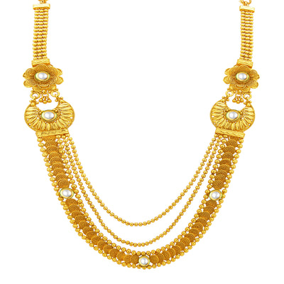 Sukkhi Glimmery Three String Jalebi Gold Plated Kundan Necklace Set For Women-2