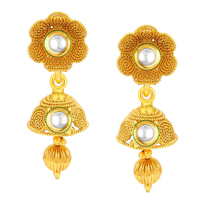 Sukkhi Glimmery Three String Jalebi Gold Plated Kundan Necklace Set For Women-4