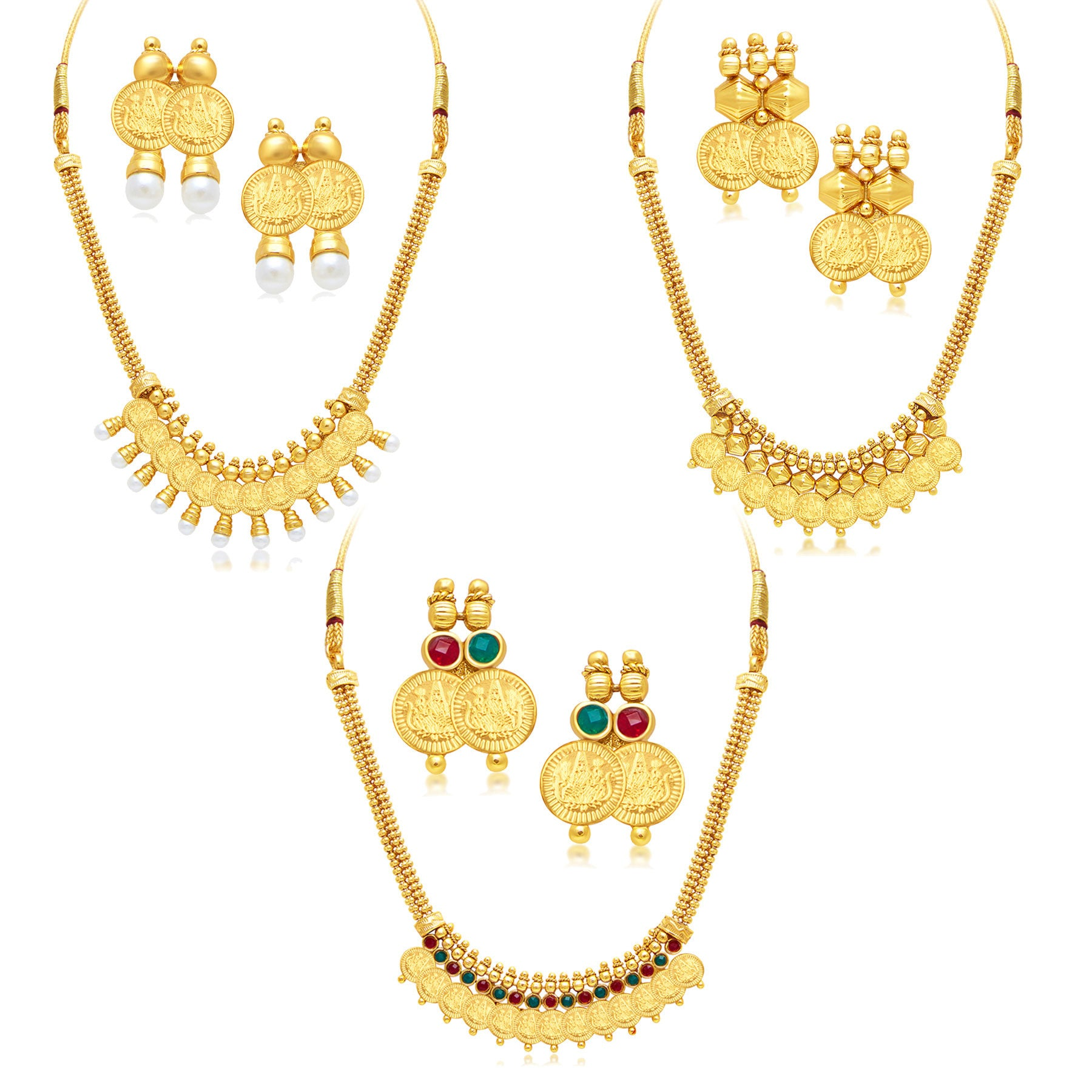 54c011d3cfc47 Sukkhi Exquitely Laxmi Coin Temple Gold Plated Set of 3 Necklace Set ...