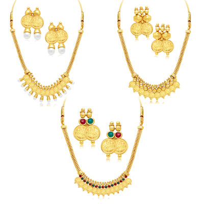 Sukkhi Exquitely Laxmi Coin Temple Gold Plated Set of 3 Necklace Set Combo For Women