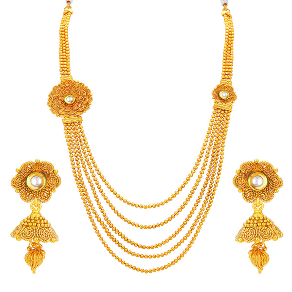 Sukkhi Excellent Five String Jalebi Gold Plated Kundan Necklace Set For Women