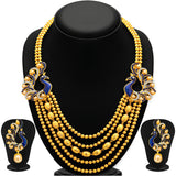 Sukkhi Graceful Five String Peacock Gold Plated Necklace Set For Women-1