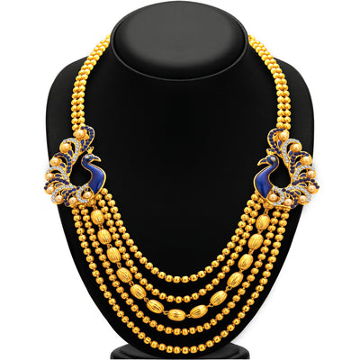Sukkhi Graceful Five String Peacock Gold Plated Necklace Set For Women-3
