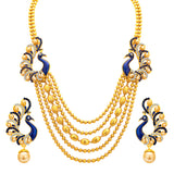 Sukkhi Graceful Five String Peacock Gold Plated Necklace Set For Women