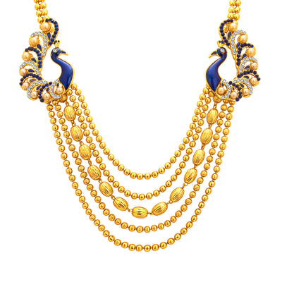 Sukkhi Graceful Five String Peacock Gold Plated Necklace Set For Women-2