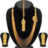 Sukkhi Delightly Eight String Chain Peacock Gold Plated Necklace Set For Women-1