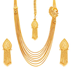Sukkhi Delightly Eight String Chain Peacock Gold Plated Necklace Set For Women