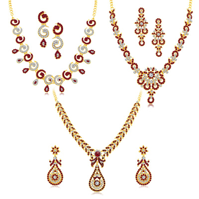Sukkhi Glittery Gold Plated AD Set of 3 Necklace Set Combo For Women