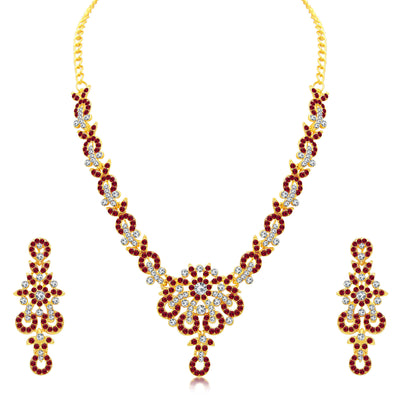 Sukkhi Glittery Gold Plated AD Set of 3 Necklace Set Combo For Women-1