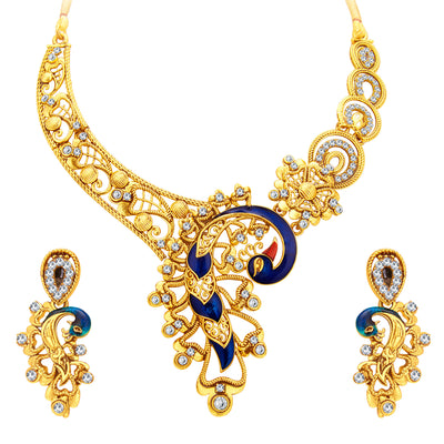 Sukkhi Appealing Peacock Gold Plated AD Necklace Set For Women