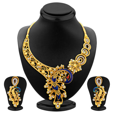 Sukkhi Appealing Peacock Gold Plated AD Necklace Set For Women-1