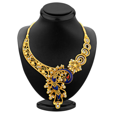 Sukkhi Appealing Peacock Gold Plated AD Necklace Set For Women-3