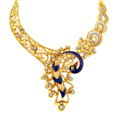 Sukkhi Appealing Peacock Gold Plated AD Necklace Set For Women-2