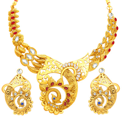 Sukkhi Lavish Peacock Gold Plated Necklace Set For Women