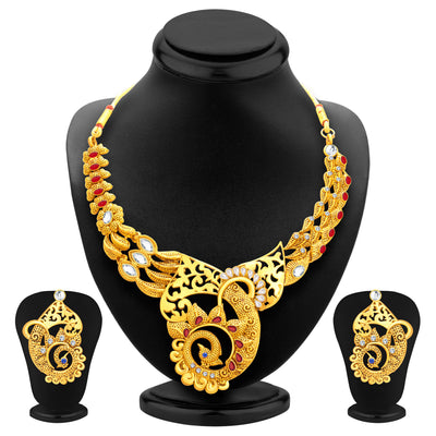 Sukkhi Lavish Peacock Gold Plated Necklace Set For Women-1