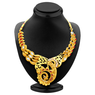 Sukkhi Lavish Peacock Gold Plated Necklace Set For Women-3