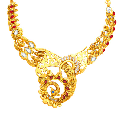 Sukkhi Lavish Peacock Gold Plated Necklace Set For Women-2