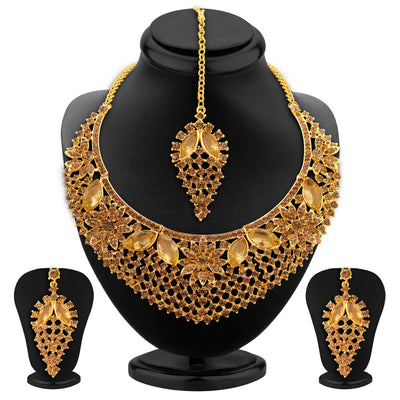 Sukkhi Finely LCT Stone Gold Plated AD Necklace Set For Women