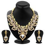 Sukkhi Delightly Gold Plated AD Necklace Set For Women-1