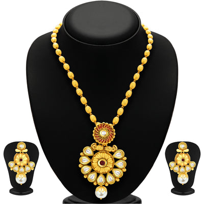 Sukkhi Glistening Gold Plated Kundan Necklace Set For Women-1
